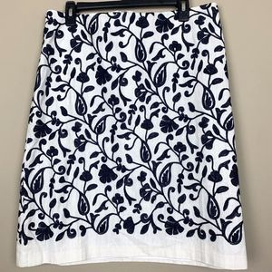 Talbots Embroidered Floral Skirt  NWT 14